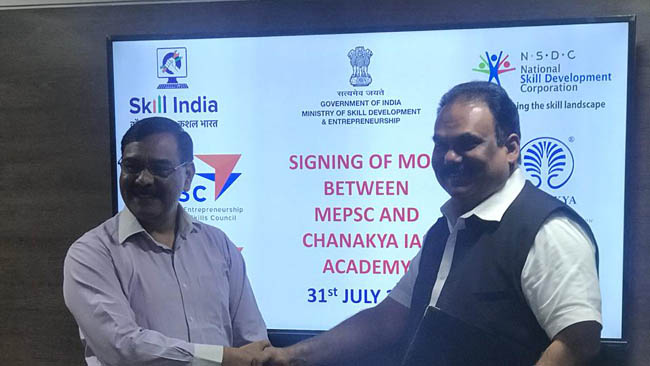 72 Chanakya IAS Academy signs MoU with MEPSC for introducing vocational courses