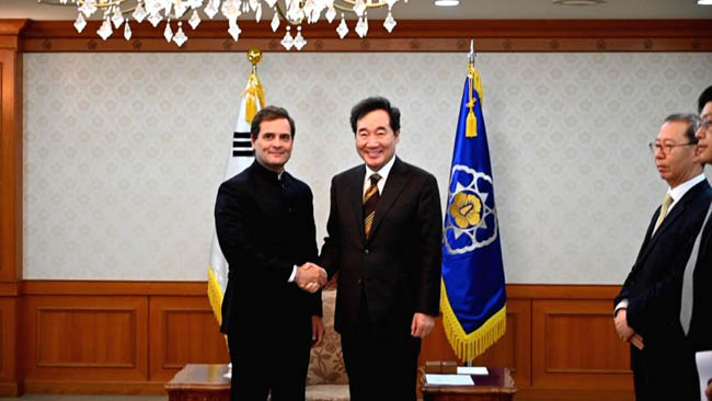 Rahul Gandhi on visit to South Korea, meets country's PM
