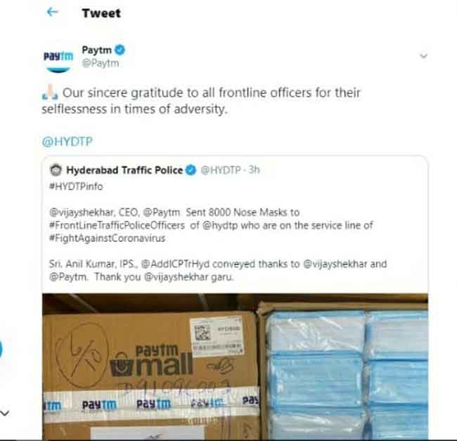 Hyderabad Traffic Police thanks Paytm for contributing 8000 nose masks