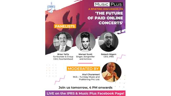 IPRS to host a webinar on 'The Future of Paid Online concerts' in association with Music Plus