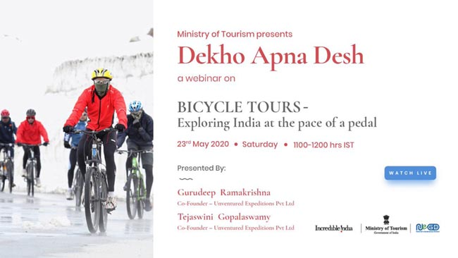 """Ministry of Tourism organises 23rd webinar titled 'BICYCLE TOURS - Exploring India at the pace of a pedal'  under """"Dekho Apna Desh"""" series"""